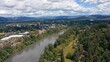 Drone Flight Over Willamette River In Eugene, Oregon - aerial