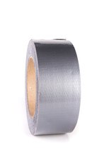 Large Roll Of Silver Shiny Reflective Duct Tape Standing Up Isolated Over White