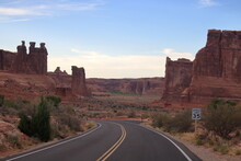 Arches National Park Scenic Byway Passes Through Various Sandstone Formations