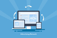 Digital Advertising And Networking, Online Ads Showing On Digital Devices, Cross Channel Marketing, Responsive Ads, Customer Targeting With Behavior Tracking Advertising.
