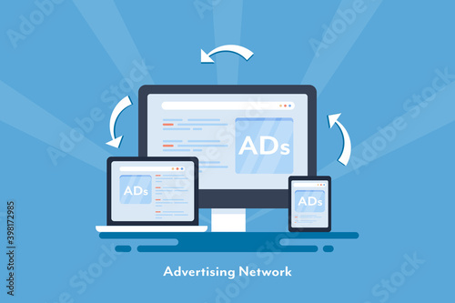 Fototapeta Digital advertising and networking, online ads showing on digital devices, cross channel marketing, responsive ads, customer targeting with behavior tracking advertising. obraz