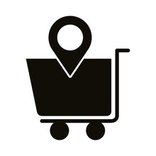 Shopping Cart With Pin Location Block Style Icon