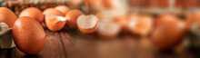 Close-up View Of Raw Chicken Eggs On Wooden Background. Fresh Farm Egg. Eggs In Carton Box. Broken Egg With Yolk. Panorama, Banner
