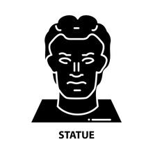 Statue Icon, Black Vector Sign With Editable Strokes, Concept Illustration