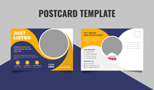 Real Estate Postcard Design Template. Just Listed Postcard, Home Buy And Sale Postcard