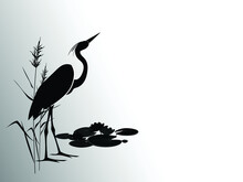 Heron In Reeds Stands Against A Group Of Water Lilies. Silhouette Vector Illustration