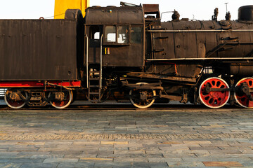 Fototapeta na wymiar Old steam engine train and parts close-up