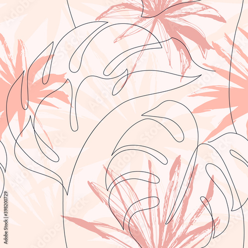 Fotografia Abstract tropical foliage background in autumn blush colors