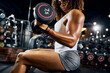 Young sportswoman doing the upper body workout