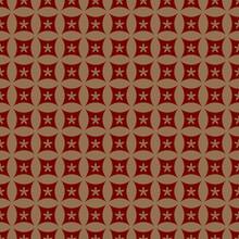 Japanese Gold Pattern. Ornament Vector Illustration. Red Asian Seamless Circles Pattern. Vector Illustration