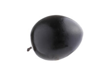 Whole Black Olives Isolated On White Background. Top View. Flat Lay Pattern.