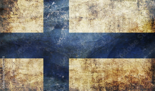 retro flag of Finland with grunge texture Fototapeta
