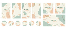 Social Media Stories, Posts, Highlights, Banner Templates. Abstract Organic Minimal Trendy Vector Backgrounds With Copy Space For Text