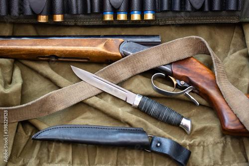 shotgun cartridges knife faithful hunter companions Fototapet
