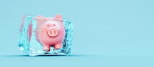 Piggy Bank Frozen In Ice Cube On Blue Background 3D Rendering
