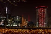 Illuminated Modern Buildings In North-German Twilight
