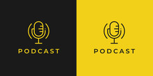 Podcast Logo. Classic Microphone Line Icon. Studio Mic Symbol. Radio Talk Show Sign. Vector Illustration.