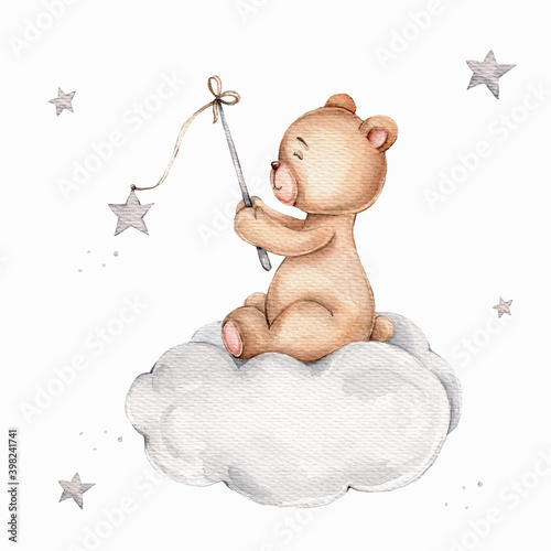 Cartoon teddy bear sitting on cloud and catching stars; watercolor hand draw illustration; can be used for kid posters; with white isolated background