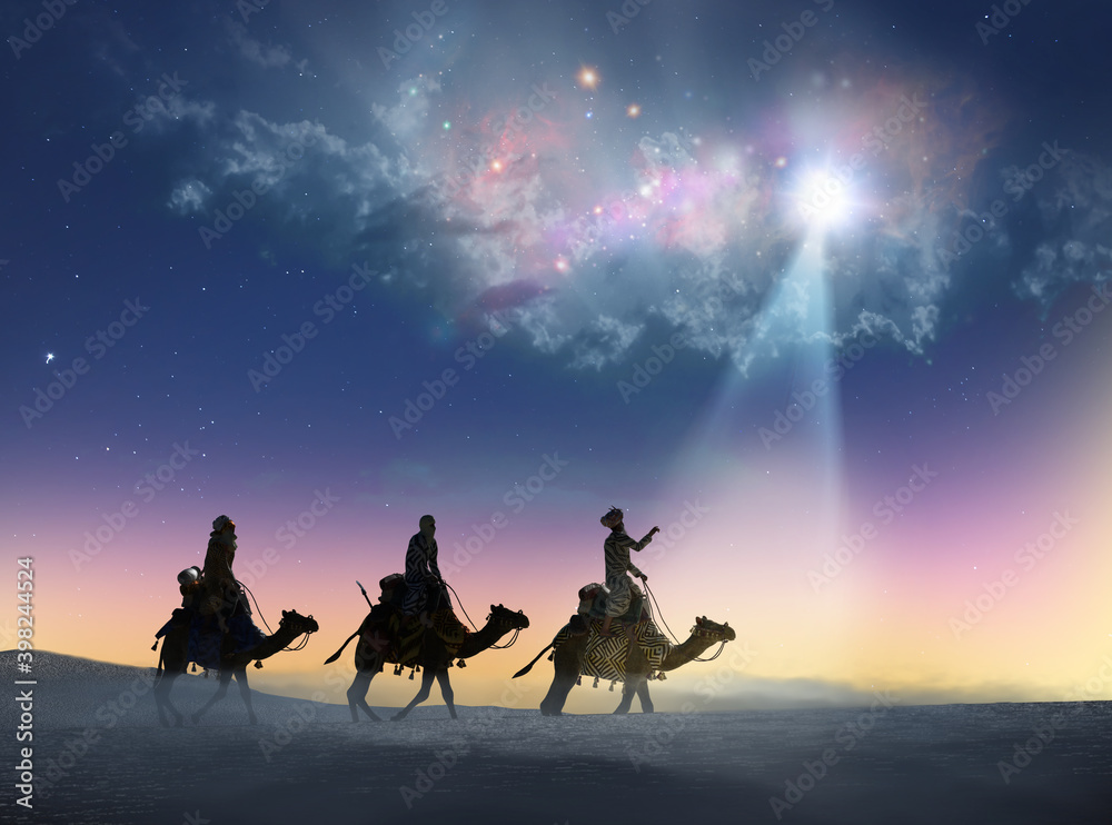 Fototapeta Christian Christmas scene with the three wise men and shining star, 3d render
