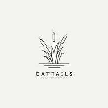 Cattail Plant Outline Minimalist Logo Design Illustration Design Template