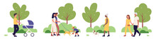 People Walking In City Park Together Vector Illustration Set. Cartoon Cityscape Summer Park Scenes Collection, Happy Family Characters Walk And Play With Dog, Father With Stroller Isolated On White