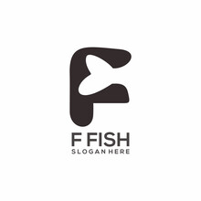 Logo Letter F With Fish Sillhouete Vector Design