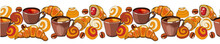 Endless Border Of Coffee And Tea Cups, Coffee Beans, Croissants And Buns On A White Background. Drink And Pastry.