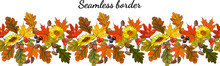 Seamless Pattern With Fall Maple Leaves Izolate On White. Vector Illustration.