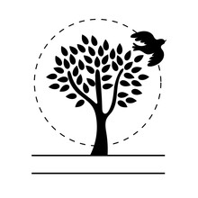 Tree Plant With Dove Bird Flying Silhouette Line Style Icon