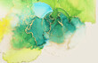 Leinwandbild Motiv Art Abstract painting green and yellow blots background. Alcohol ink colors. Marble texture.