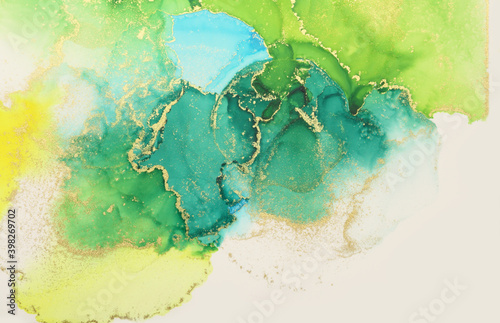 Art Abstract painting green and yellow blots background. Alcohol ink colors. Marble texture.