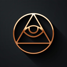 Gold Masons Symbol All-seeing Eye Of God Icon Isolated On Black Background. The Eye Of Providence In The Triangle. Long Shadow Style. Vector.