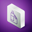 Isometric line Plastic bottle for laundry detergent, bleach, dishwashing liquid or another cleaning agent icon isolated on purple background. Silver square button. Vector.