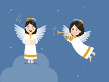 Two Angels Singing And Playing The Trumpet In The Blue Sky With Stars. Vector Illustration