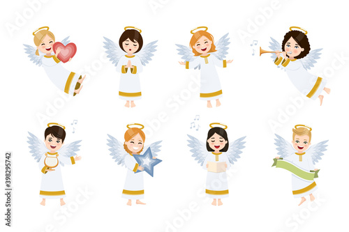 Leinwand Poster Eight cute and happy angels set
