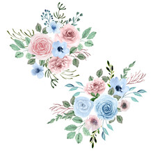 Watercolor Set Of Bouquets. Dusty Pink, Dusty Blue Pastel Floral Arrangements. Botanical Hand Painted Compositions. Blue And Pink Flowers. For Fabric, Decoration, Wedding Design