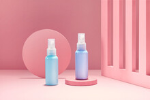 Bottles Mock Up On Pastel Colored Background. Womens Beauty And Hygiene Products.
