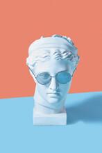 Gypsum Artemis Head With Glasses.