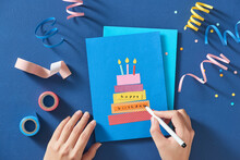Blue Background With Various Party Confetti, Paper Decoration