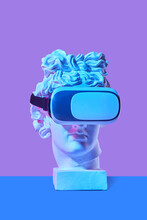 3D Virtual Reality Glasses On Greek God Statue.