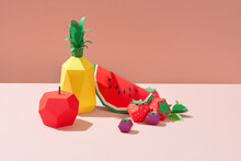 Exotic Fruits Made Of Paper. Handmade Paper Art