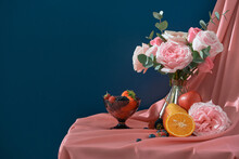 Still Life, Flowers, A Bouquet Of Flowers In A Vase With Fruit