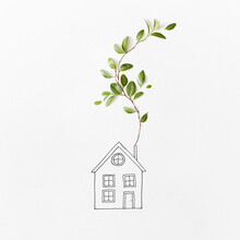 Sketch Of House With Branch Of Green Leaves.