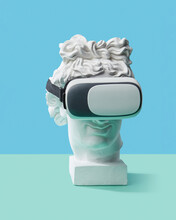 Antique Statue Head Wearing In 3D Glasses.