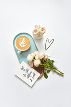 Greeting Card With Cappuccino Cup And Roses.