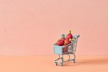 Miniature Shopping Trolley With Mini Radish