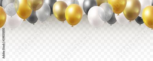 Slika na platnu Balloon seamless border isolated on transparent background