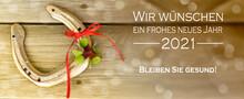 Glücksbringer Hufeisen Und Kleeblatt Mit Guten Wünschen Für Das Neue Jahr 2021