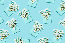Envelopes Pattern With White Flowers.