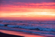 Marine Landscape On The Background Colorful Cloudy Sky On Khalaktyrsky Beach, Kamchatka.